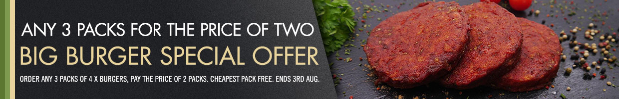Burgers Special Offer -  Buy any 3 packs for the price of 2